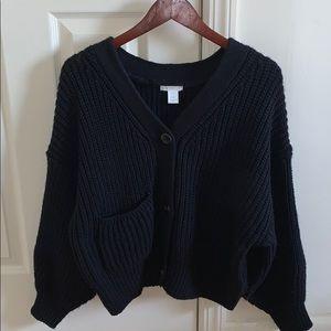 H&M black knit cardigan